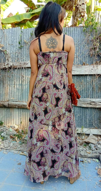 75d0d2d7a784 Vintage Paisley Print Maxi Dress Bohemian Chiffon Flora Maxi