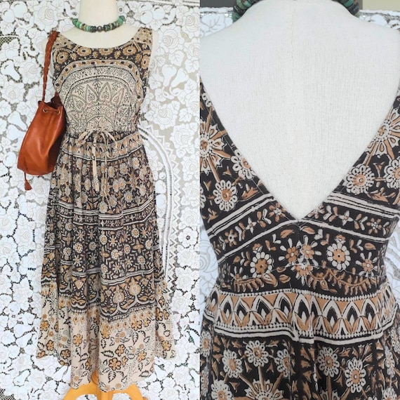 Vintage Indian Block Printed Dress/Bohemian Indian