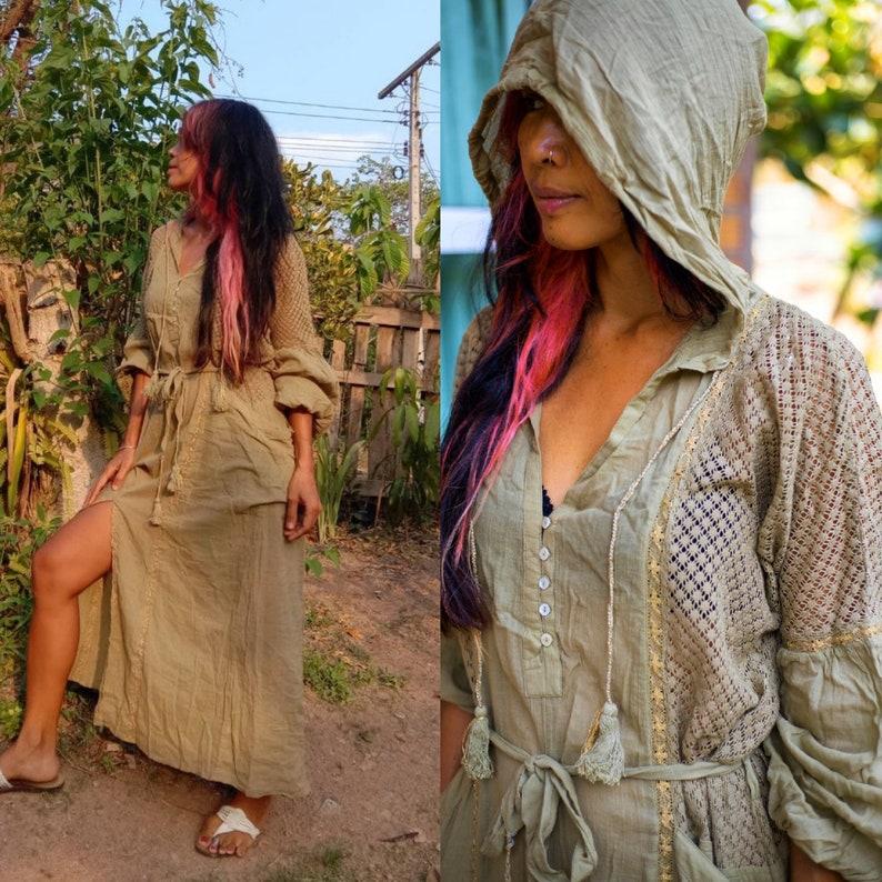 a109eed7b336fa Mooie lange mouwen en capuchon Boho zigeuner kleding met