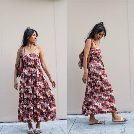 Vintage Smocked Maxi dress/Bohemian  Smocked Maxi