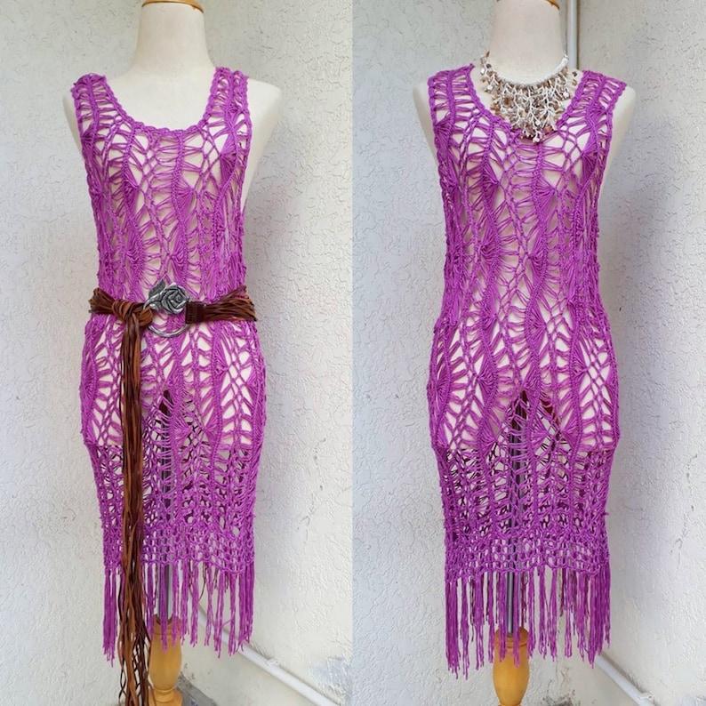 Light Purple Macrame Woven Crochet Dress with Fringe Beach Bikini Cover up Holiday Vacation Festival Dress.