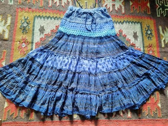 Vintage Gauze Indian Dress/Boho Gauze Indian Skirt