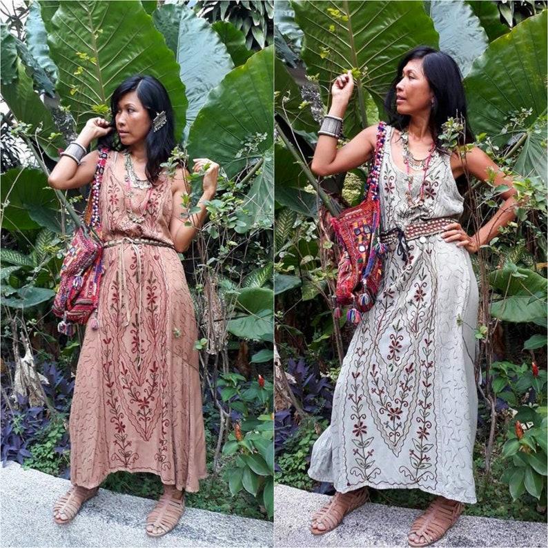 2240844f40f Handmade Indian Maxi Dress Bohemian Embroidery Maxi