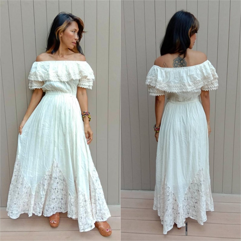 af9ea40256 Mexican/Spanish Style Off-white Romantic Boho Maxi Dress. | Etsy
