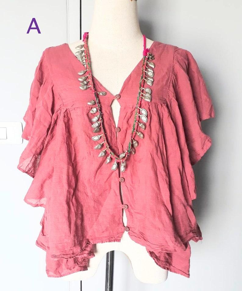 Handmade Cotton Dye Blouse 10 colorsBohemian raw cotton BlouseHippie Light Weight topBeach cotton blouseEveryday Summer cotton blouse