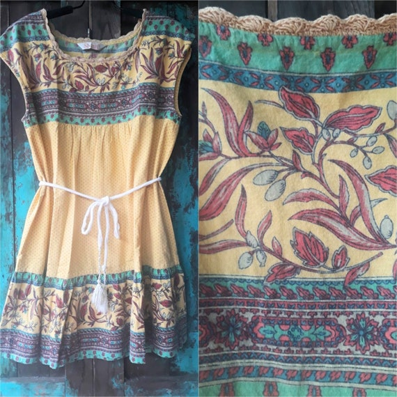 Vintage Block Printed Dress/Bohemian Indian Flora