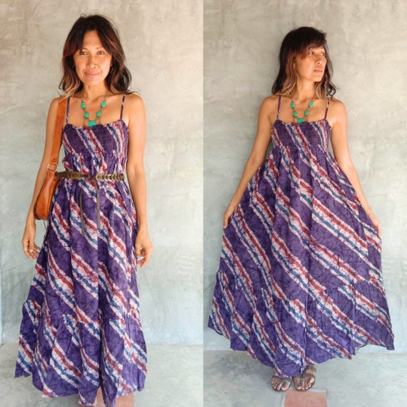 Vintage Purple Striped Raw cotton maxi dress/Bohem