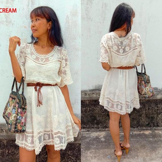 Bohemian Mini Lace Dress Boho Wedding Dresssummer Mini Lace Dressembroidered Lace Dresswomens Summer Lace Dress Creamgypsy Lace