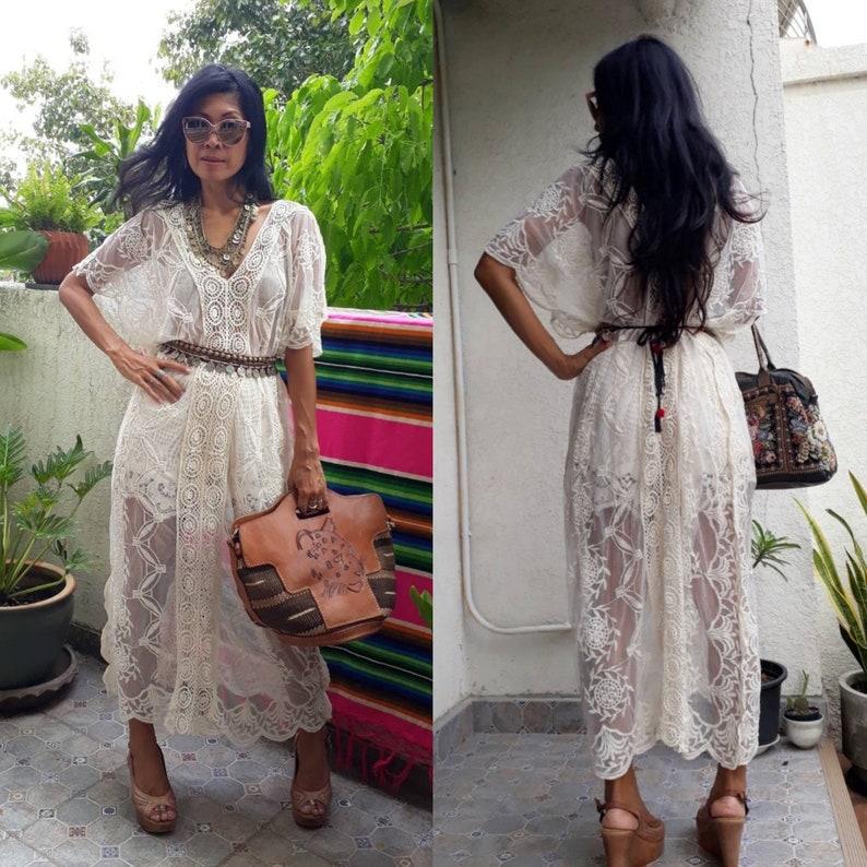 eb1b75aaf2bd Lace Maxi Kaftan/Kimono Lace Maxi Dress/Bohemian Maxi Lace | Etsy