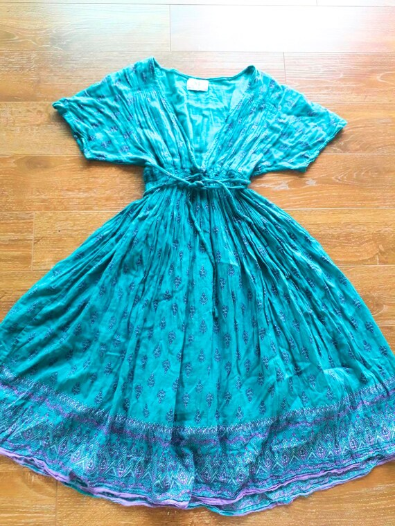 Vintage Indian gauze cotton dress/Sheer Block Prin