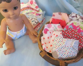 Luvabella Luvabeau Doll Diapers Cute Patterns Soft Fleece Lining Flannel or Cotton Outer Layer  Doll Clothes Cloth Doll Diaper U Pick