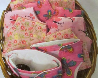 "Doll Clothes 15-17"" Baby Dolls Set of TWO Quilted Lined Cloth Diapers Pinks Girl Doll U Pick Pattern"