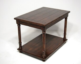 Charmant 660 Custom End Table In Cherry, Mocha Finish, Very Severe Antique  Distressing
