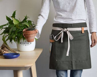 GARDEN HALF APRON Green, black, denim, natural cotton color. Apron for gardeners and florists. Green apron with pocket and leather hooks.