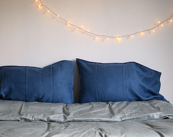BLUE LINEN PILLOWCASES. Set of 2. From 100% washed light blue linen. Soft and natural linens for your bedding.