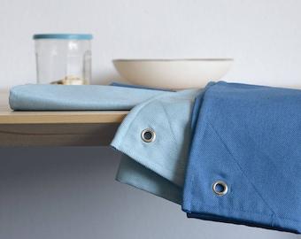 TEA TOWELS Set of 2. Cotton Dish Towels. Cobalt blue and Steel blue. Minimal Kitchen Linens Decor.