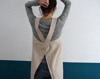 NATURAL LINEN CROSS Back Apron in Beige. Japanese linen apron. Pinafore. Linen dress. Florist Apron. Linen Fabric. Natural Homeware