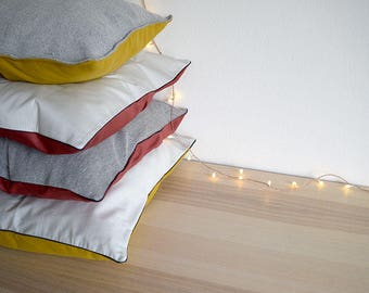 CUSHION COVERS COLLECTION. 4 Minimal Decorative Cushions for Living. Grey, Stripes, Red and Mustard in 100% Cotton.