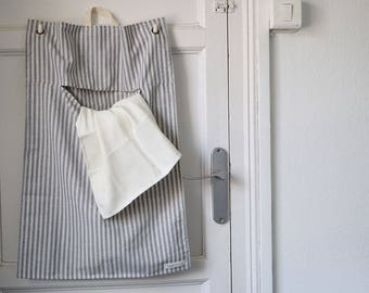 LAUNDRY BAG STRIPES. Cotton laundry bag for hanging behind the door. Stripes cotton fabric. Washable.