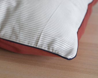 STRIPES AND RED Cushion cover. A decorative pillow made from cotton in grey and white with stripes pattern and blue ribbon
