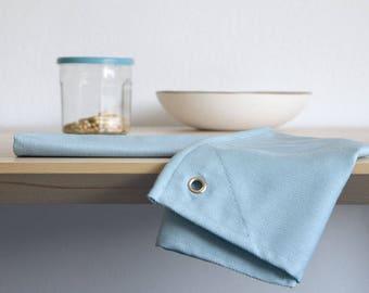 Flour sack TOWEL BLUE. Cotton steel blue dish towel Hook for hanging. Minimal kitchen decor