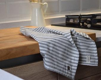 STRIPES TEA TOWELS Set of 2. Cotton Dish Towels. Stripes in soft grey. Minimal Kitchen Linens Decor.