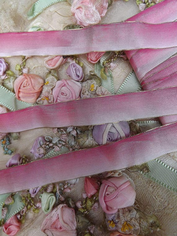 BTY Antique French Silk /& Gold Metallic Ribbon Work Pink /& Green Rosettes c1920