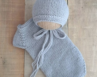 Silver grey newborn romper and bonnet set for newborn photography prop for boys and girls neutral hand knit merino ready to ship