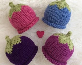 Knitted baby hat berry baby hat babyshower gift blackcurrant plum raspberry  blueberry hat newborn photo prop purple pink blue baby hat vegan 7f396cfe65c