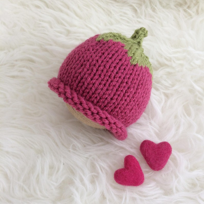 b6182ed8f36 Raspberry baby hat pink girl photo prop PICK SIZE preemie