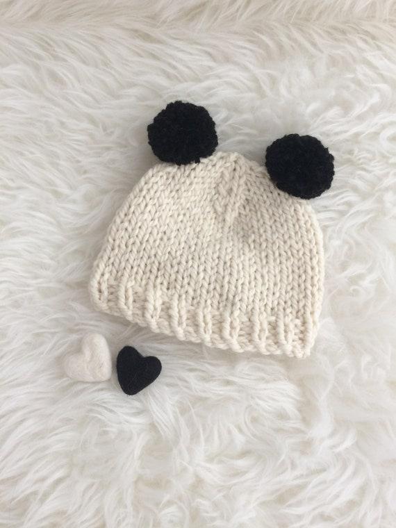 Panda pom pom baby hat newborn 0 to 3 to 6 months boy girl  ba2747c29320