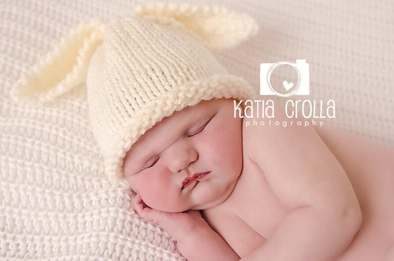 e9c888b0e7356f Preemie baby hat bunny rabbit hat cream neutral newborn photo | Etsy