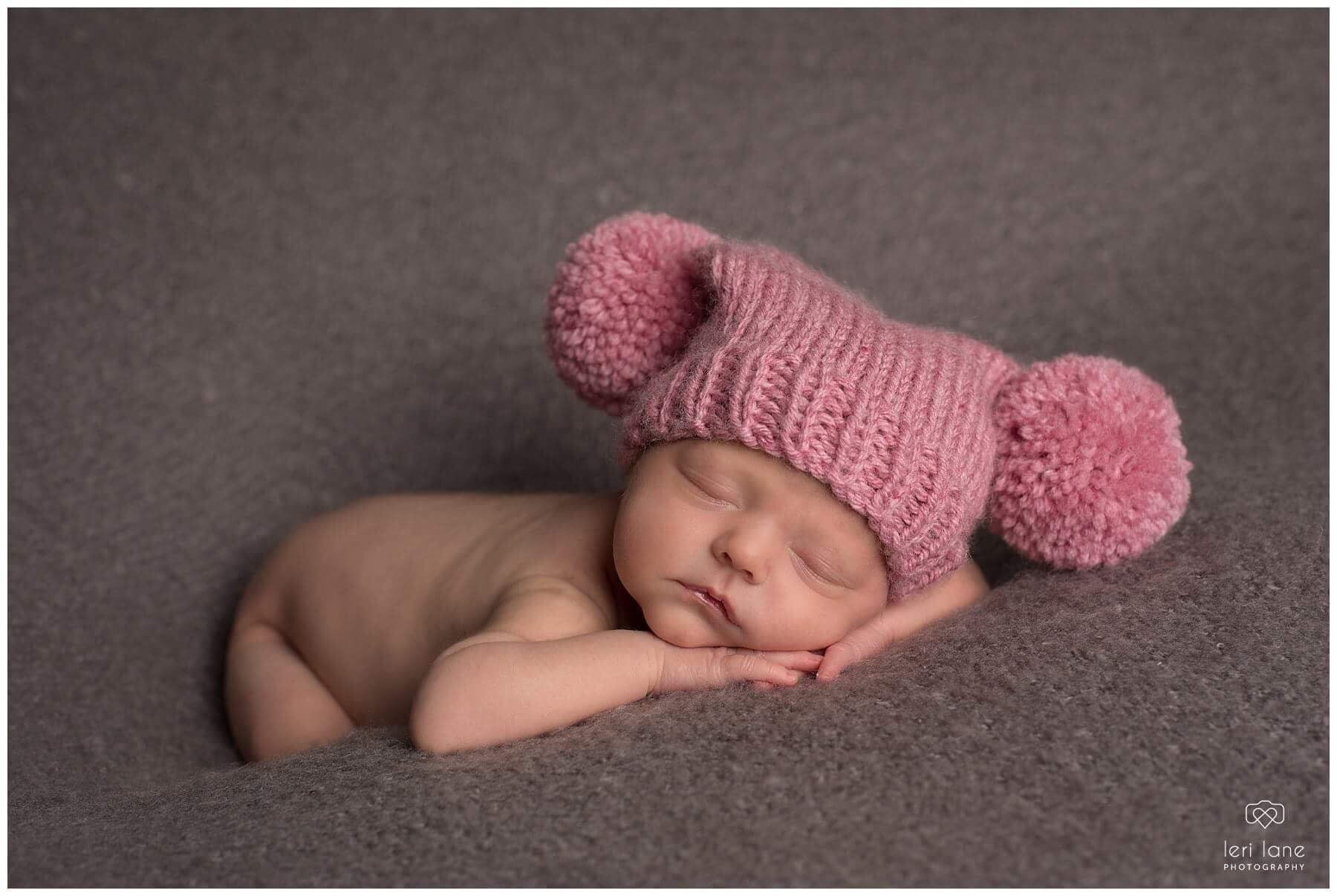 2e2750669 Knitted newborn baby girl hat 0 to 3 months pink rose pom pom pompom hat  warm baby girl hat - photo prop hand knit baby shower gift wool mix