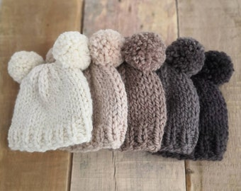 Double pompom baby hat hand knit in natural wool and alpaca yarn in a choice of brown tan beige and neutral. Perfect for baby boys and girls