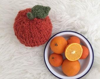 Orange baby hat clementine satsuma fruit hat preemie newborn up to toddler for baby boy or girl hand knit natural yarn unisex gift