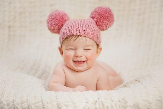 5917ca833 Knitted baby girl hat 9 12 24 months pom pom pompom pink rose