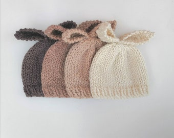0 to 3 months baby bunny hat in brown beige tan cream hand knit natural yarn perfect for baby boys and girls for Spring and easter