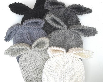 0 to 3 months baby bunny hat in neutral white silver grey and black hand knit natural yarn perfect for baby boys and girls for Spring Easter