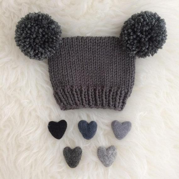2dd333aad Newborn pom pom hat boy girl grey photo prop 0 to 14 days