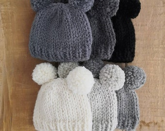Two pompom newborn baby hat hand knit in natural wool alpaca yarn in choice of black grey silver and neutral Perfect for baby boys and girls
