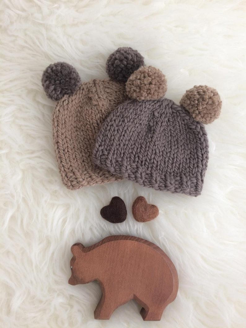 b6695d4197c Teddy bear baby hat pom pom newborn 0 to 3 to 6 months boy