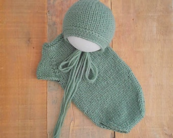 Newborn sage green baby bonnet and romper perfect for newborn photo prop for baby boys and girls newborn photography  hand knit
