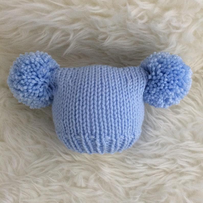 d94258e890df Newborn pastel blue baby hat boy 0 to 3 months pom pom newborn