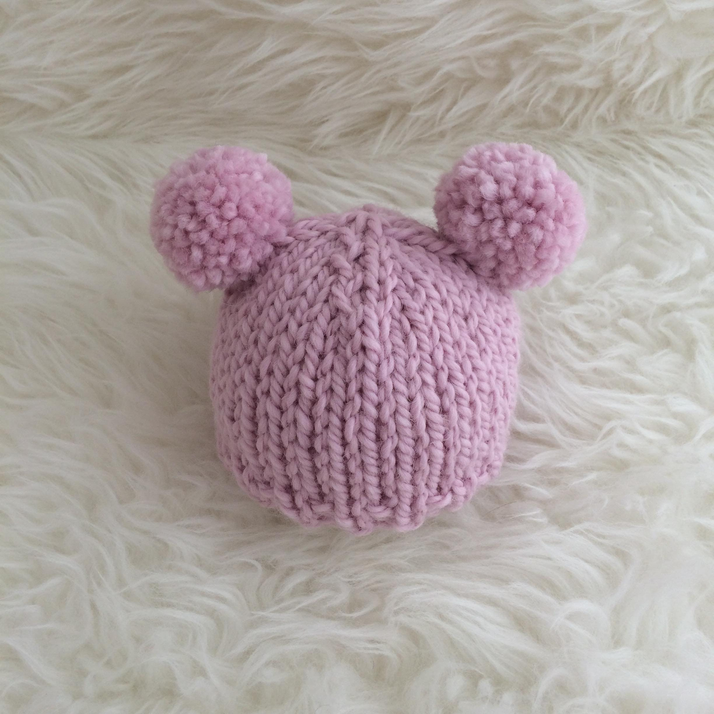 Pink pom pom baby hat newborn 0 to 3 to 6 months girl luxury  44254cd8f8e