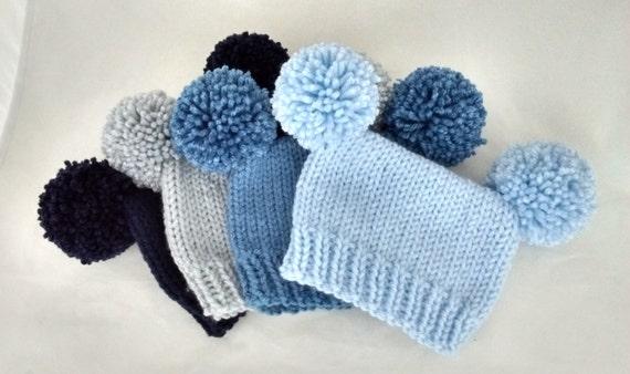 Baby boy hat pom pom newborn 3 6 9 12 24 months preemie photo  e66712b5a329