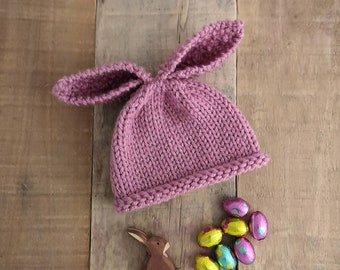 Newborn pink rabbit hat perfect bunny rabbit ear hat for newborn baby girl hand knitted Spring photo prop new baby gift for babyshower