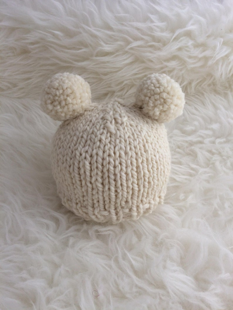 b05265f2161 Ivory white cream pom pom baby hat newborn 0 3 months boy