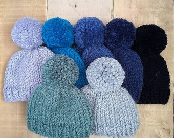 Newborn blue baby pompom hat hand knitted in natural wool and alpaca yarn in choice of pastel blue turquoise navy denim green for baby boys