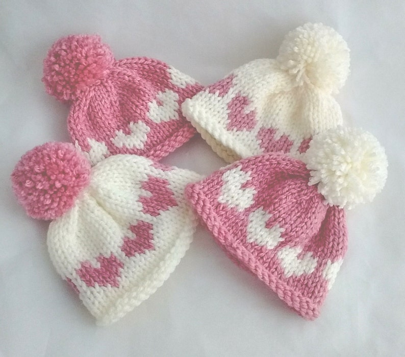 6d89893ae Newborn baby girl pom pom bobble hat pink cream heart photo