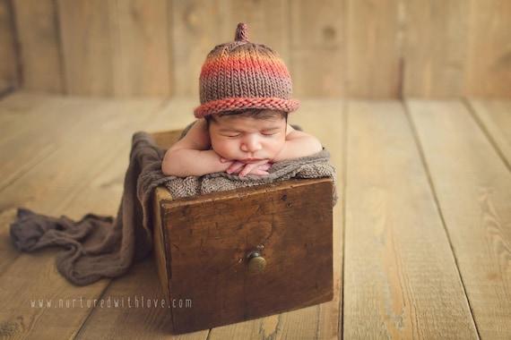 8a98c01e32a Preemie baby hat unisex boy girl red orange brown photo prop